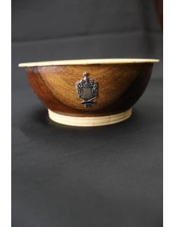 Ciotola in legno, osso e argento per sapone da barba