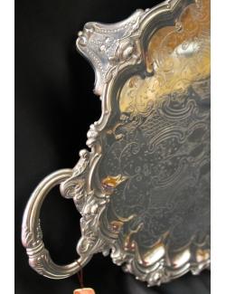 Vassoio con piedi in sheffield antico inglese datato 1870 cesellato