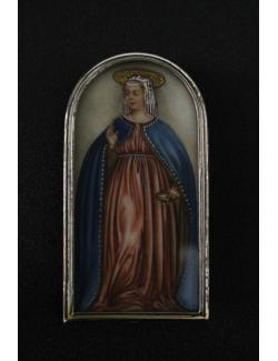 Miniatura dipinta a mano di Madonna su argento