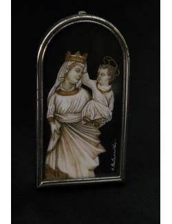 Miniatura sacra dipinta a mano su argento