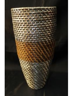 Vaso in rattan e argento