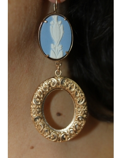 Coppia orecchini con ovale in bronzo