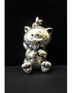 Ciondolo in argento modello gatto movibile e massiccio