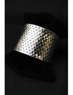 Bracciale a fascia larga reticolato in argento