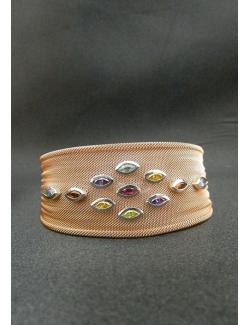 Bracciale in argento rosato con pietre dure