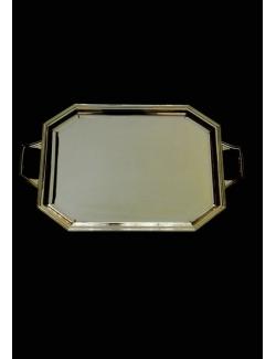 vassoio ottagonale in argento con manici