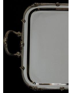 Vassoio rettangolare in argento mod.barocco