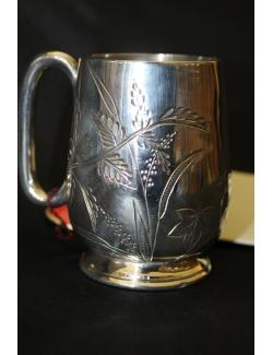 Boccalino in sheffield antico inglese cesellato a mano datato 1880