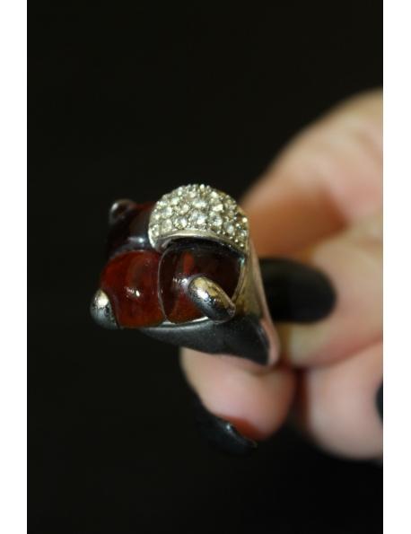 Anello con zirconi e pietra dura e argento