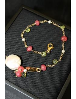 Bracciale in argento dorato con perla e pietre dure
