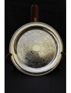 Vassoio tondo in sheffield antico inglese datato 1900