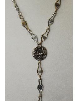 Collana lunga in argento e bronzo con medaglione centrale