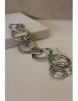 Bracciale con cerchi in argento e bronzo