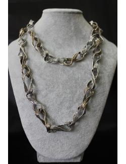 Collana lunga a catena argento e bronzo