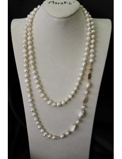 Collana lunga di perle barocche